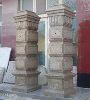 """PAIR OF LARGE DRIVEWAY ENTRY POST IN GRANITE, 78"""" TALL"""