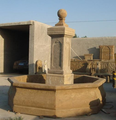 Simple Pillar Style Fountain with Basin Surround, Hand Carved Marble, Old World Finish