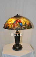 Beautiful Handel Style Jungle Bird Parrot Reversed Painted Table Lamp