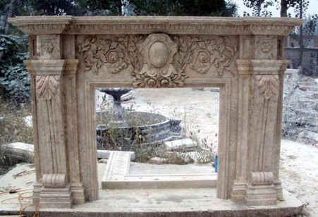 FRENCH RENAISSANCE STYLE MARBLE FIREPLACE MANTEL Overall dimensions: 97 x 65 x 15 Opening width: 39.75 wide X 40 Height Espresso Travertine