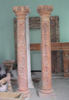 8 FOOT TALL HAND CARVED MARBLE COLUMNS IN SUNSET MARBLE, FLORAL CARVINGS ON POSTS WITH CORINTHIAN TOPS