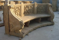 "LARGE CURVED ORNATE MARBLE BENCH WITH SEAT BACK, CARVED ANIMALS AND RELIEFS 118"" WIDE"