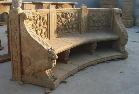 """LARGE CURVED ORNATE MARBLE BENCH WITH SEAT BACK, CARVED ANIMALS AND RELIEFS 118"""" WIDE"""