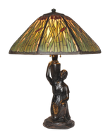 Antique Handel Cattail Overlay Lamp Table Lamp with Rebecca Base
