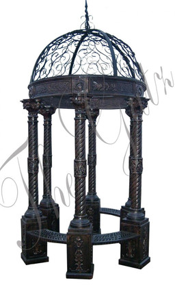 """ROUND CAST IRON VICTORIAN INSPIRED GAZEBO, DOME TOP, BENCH SEATING 126"""" TALL"""