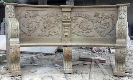 """SOLID GRANITE GARDEN BENCH WITH FLORAL CARVINGS, BALL & CLAW FEET, 94.5"""" WIDE T-0006"""