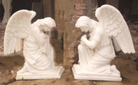 "LARGE PAIR OF MARBLE GARDEN KNEELING ANGELS, GREAT CHURCH OR CEMETERY STATUES, RELIGIOUS 47"" TALL"