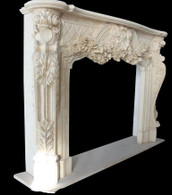 Hand Carved French Fireplace mantel with Rose Flower Carvings Antique Design