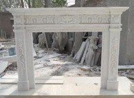 Hand Carved White marble fireplace mantel