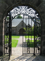"LOVELY CAST IRON ENTRY GARDEN GATE, 100"" TALL"