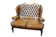 Attractive Brown Leather Chesterfield Bench or Loveseat