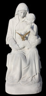 Custom Designed Marble  Religious Statue of Seated Mary, Jesus & Holy Spirit