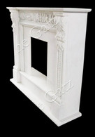 Traditional Hand Carved White Marble Fireplace Mantel  Acanthus Leaf Carvings