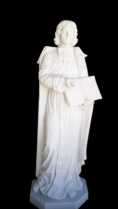 """Hand Carved Marble 60"""" Religious Statue of St. John de Salle"""