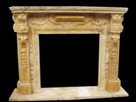 Great Marble Fireplace Mantle in Travertine Marble, Tuscan Old World Design