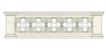 Hand Carved Marble Gothic Church Railing