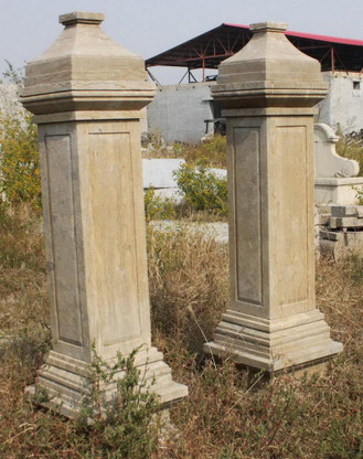 HAND CARVED TALL EUROPEAN STYLE MARBLE ESTATE DRIVEWAY ENTRY COLUMNS