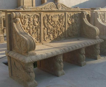 NEW MARBLE BENCH WITH ANTIQUE OLD WORLD FINISH IN GRAY MARBLE, G204