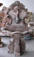 """ELEGANT HAND CARVED MARBLE WALL FOUNTAIN, KOI OR DRAGON FISH CARVINGS, SINGLE BOWL 64"""" TALL"""
