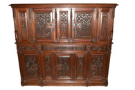 IMPRESSIVE Antique French Gothic Cabinet in Oak 19th Century Large Extremely Well Carved
