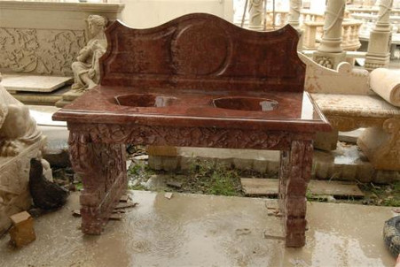 ORNATE CARVINGS ON A DOUBLE BOWL HAND CARVED MARBLE SINK