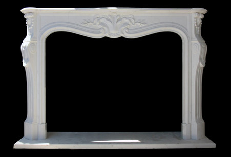 Hand Carved Simple & Elegant White Marble Fireplace Mantel