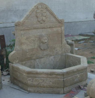"HAND CARVED MARBLE LION WALL FOUNTAIN FROM GRAY SOLID BLOCK, 62"" TALL"