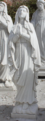 """RELIGIOUS HAND CARVED MARBLE STATUE OF VIRGIN MARY, LADY OF LOURDES DESIGN, 48"""" TALL"""