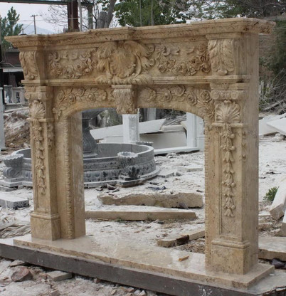 HAND CARVED MARBLE TRAVERTINE FIREPLACE MANTEL, HEAVILY CARVED AND ORNATE WITH FRENCH RENAISSANCE STYLE