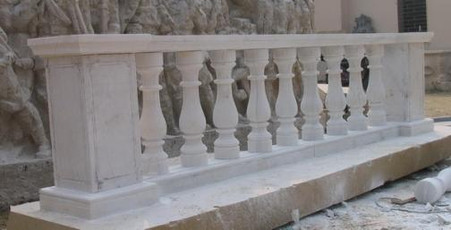 SOLID WHITE MARBLE BALUSTRADE, 10-1/2 FOOT LONG