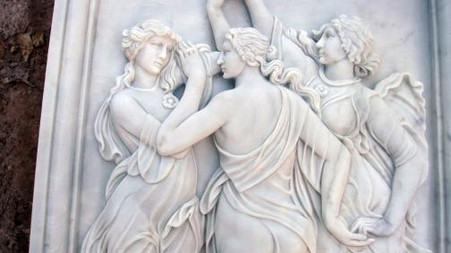 """LARGE MARBLE RELIEF OF THREE WOMEN DANCING HAND CARVED 58.5"""" TALL"""