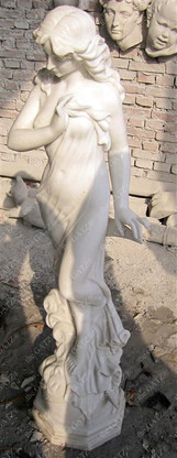 """ATTRACTIVE HAND CARVED MARBLE STATUE OF FEMALE , 50"""" TALL"""