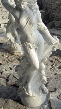 """Fabulous Carved Marble Female Statue Holding Orb, 51"""" Tall"""