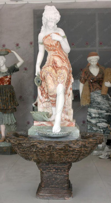 BEAUTIFUL MULTI TONED MARBLE FOUNTAIN, FEATURES WOMAN POURING FROM JUB, SINGLE BOWL