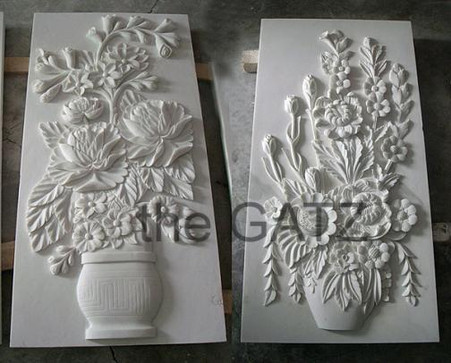 """ELEGANT MARBLE FLORAL RELIEF PANEL, 48"""" TALL"""