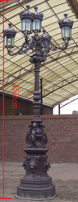 MONUMENTAL STREET LIGHT WITH 5 GLOBES, CAST IRON, 14.5FT TALL