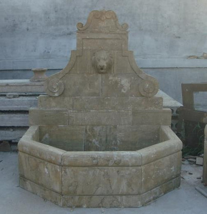 LION ADORNED HAND CARVED MARBLE WALL FOUNTAIN Measures: 67 long x 62 tall x 49.5 deep.
