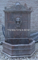 """SIMPLE HAND CARVED MARBLE WALL FOUNTAIN FEATURING LIONS HEAD, 96"""" TALL"""