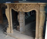 BEAUTIFUL CARVINGS IN THIS FRENCH INSPIRED MARBLE FIREPLACE MANTEL