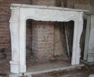 CLASSIC FRENCH DESIGN MARBLE FIREPLACE MANTEL AND SURROUND FEATURES SOLID BLOCK WHITE MARBLE, T-1556