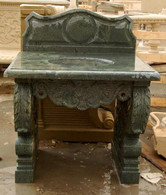 HAND CARVED DOUBLE PEDESTAL MARBLE SINK WITH BACKSPLASH, FEATURES POLISHED GREEN MARBLE