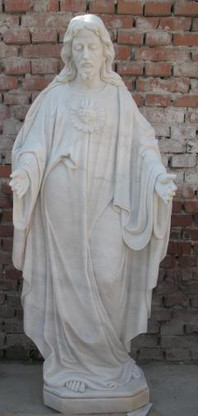 HAND CARVED MARBLE STATUE FEATURING JESUS WITH SACRED HEART
