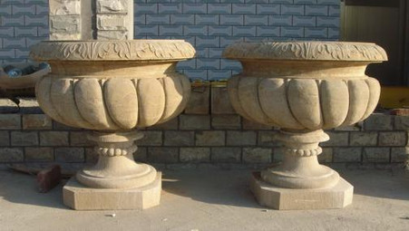 """PAIR OF HAND CARVED MARBLE URNS OR PLANTER, 34"""" TALL, WILLIAMSBURG STYLE"""