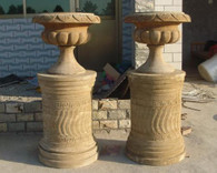 "HAND CARVED MARBLE URNS OR PLANTERS ON PEDESTALS, 53"" TALL"
