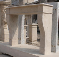 TUSCAN INSPIRED WHITE TRAVENTINE FIREPLACE MANTEL, OLD WORLD, VERY SIMPLE