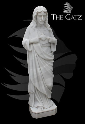 """HAND CARVED JESUS SACRED HEART STATUE, 48"""" TALL, RELIGIOUS"""