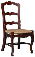 CONTEMPORARY MAHOGANY FRENCH COUNTRY CHAIRS WITH RUSH SEATS, SET OF 6