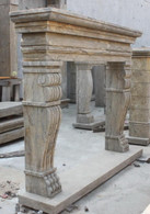 OLD WORLD HAND CARVED MARBLE FIREPLACE MANTEL WITH CLAW FEET  Measures: 59 wide x 47.5 tall. Opening measures: 40.5 wide x 33.5 tall.