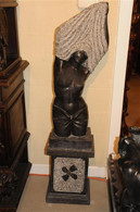 UNIQUE CARVED BLACK MARBLE STATUE FEATURING LADY UNDRESSING ON PEDESTAL