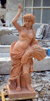 HAND CARVED SUNSET PINK MARBLE STATUE OF FEMALE IN FIELD